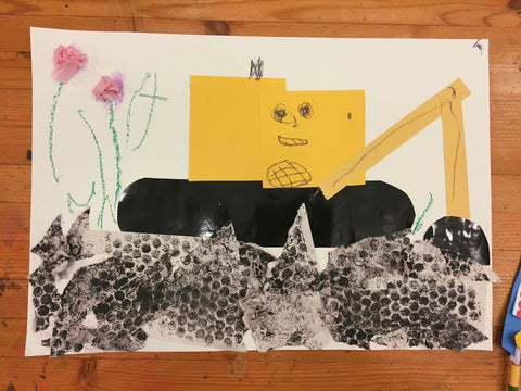 Digger and flower mixed media art collage