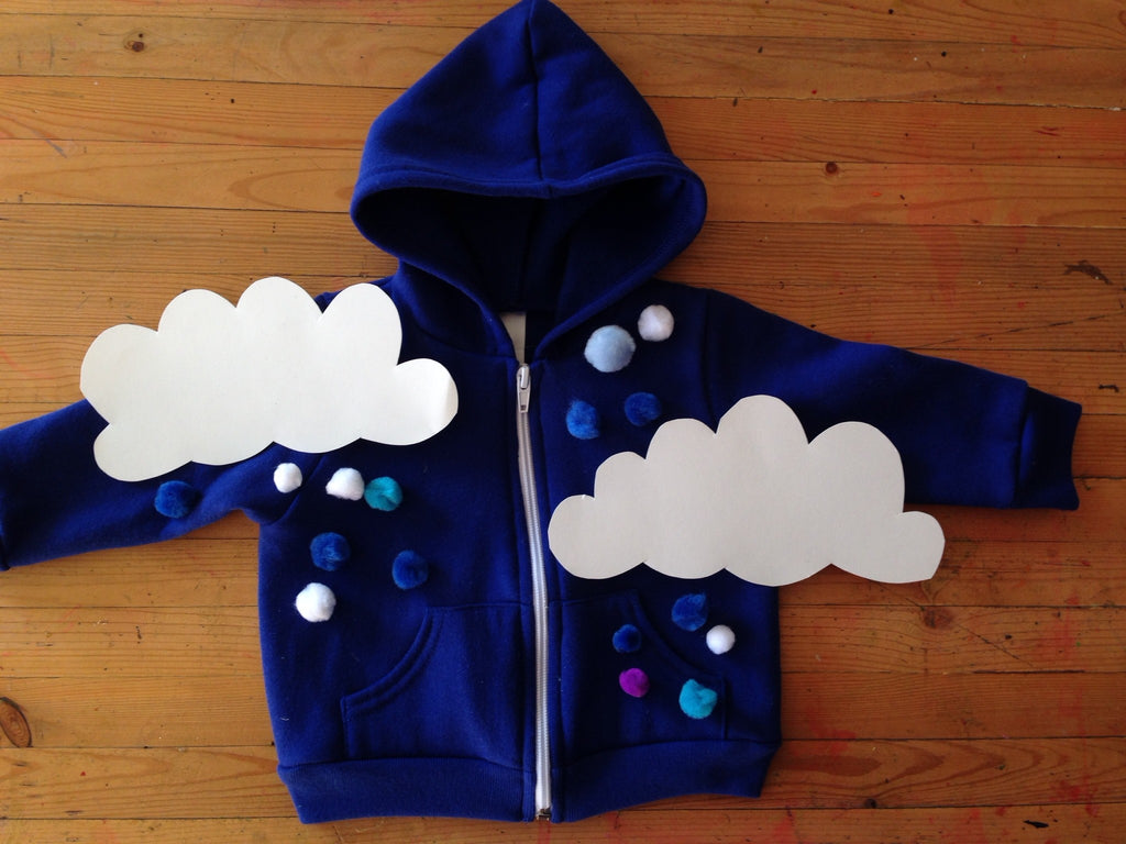 Halloween Blue Hoodie Costume Rainy Day Clouds
