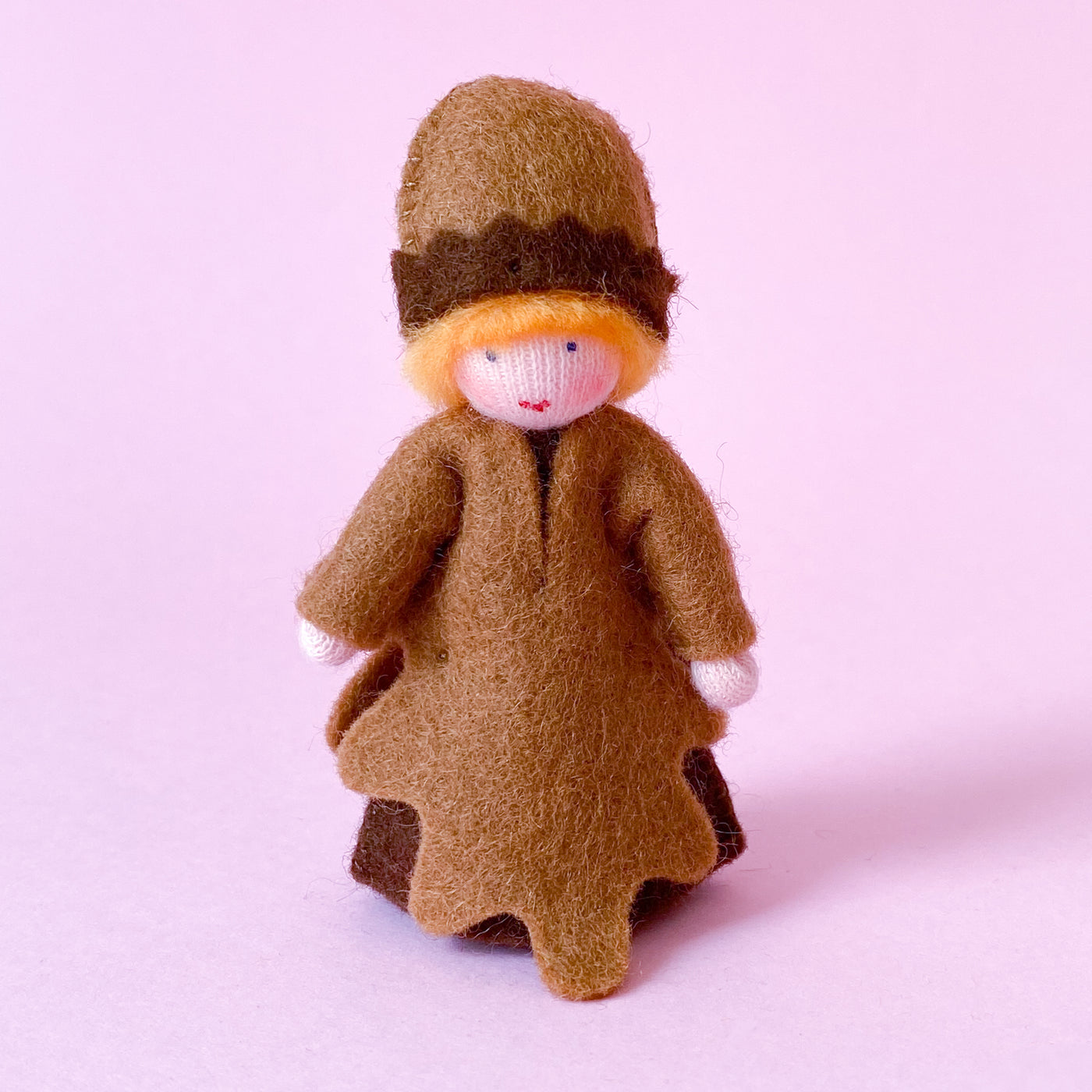 Acorn Prince Miniature Eco Friendly Doll made of felt with a Fruit Hat handmade by Ambrosius
