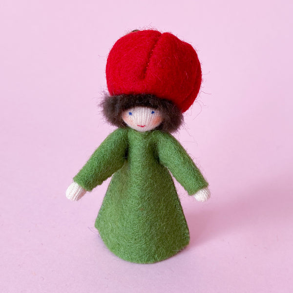 Apple Prince Miniature Eco Friendly Doll made of felt with a Fruit Hat handmade by Ambrosius