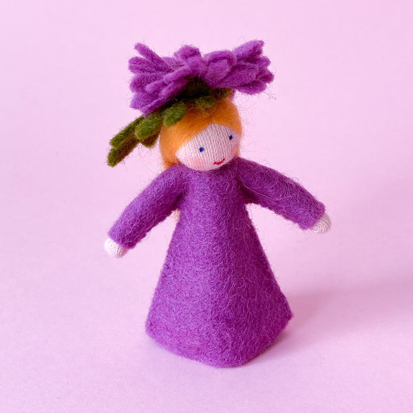 Chrysanthemum Flower Fairy Miniature Eco Friendly Doll made of felt handmade by Ambrosius
