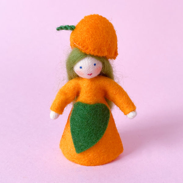 Japanese Lantern Fairy Felt Doll with a Flower Hat handmade by Ambrosius