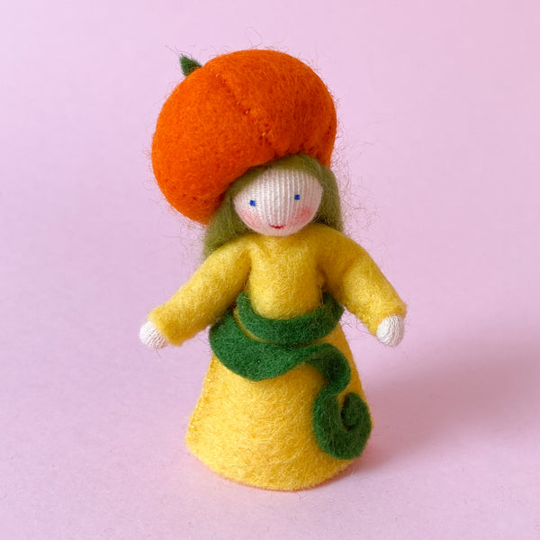 Miniature Felt Fairy Doll with a Pumpkin Hat handmade by Ambrosius
