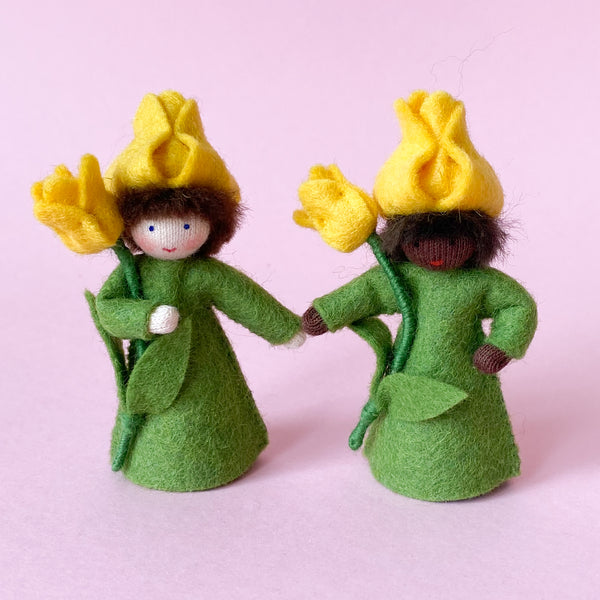 Tulip Fairy Prince Miniature Wool Felt Waldorf Doll Holding a Yellow Flower handmade by Ambrosius