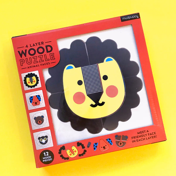 Animal Faces Wood Puzzle by Mudpuppy