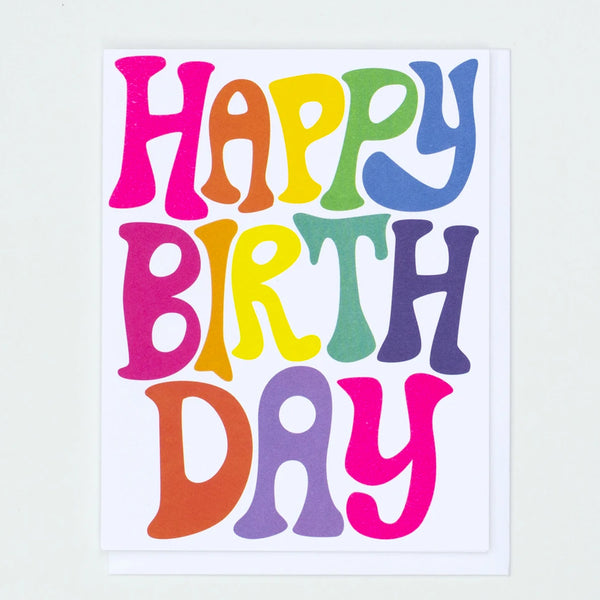 Bubble Rainbow Letters Happy Birthday Greeting Card in rainbow colours by Banquet workshop