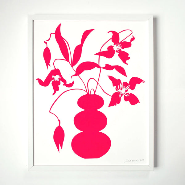 screen print of the brightest pink neon vase with vining clematis by banquet