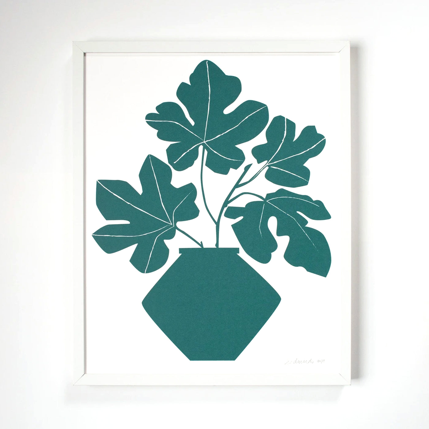 Screenprint of a few stems of deep teal green Fig leaves in a modernist vase by Banquet