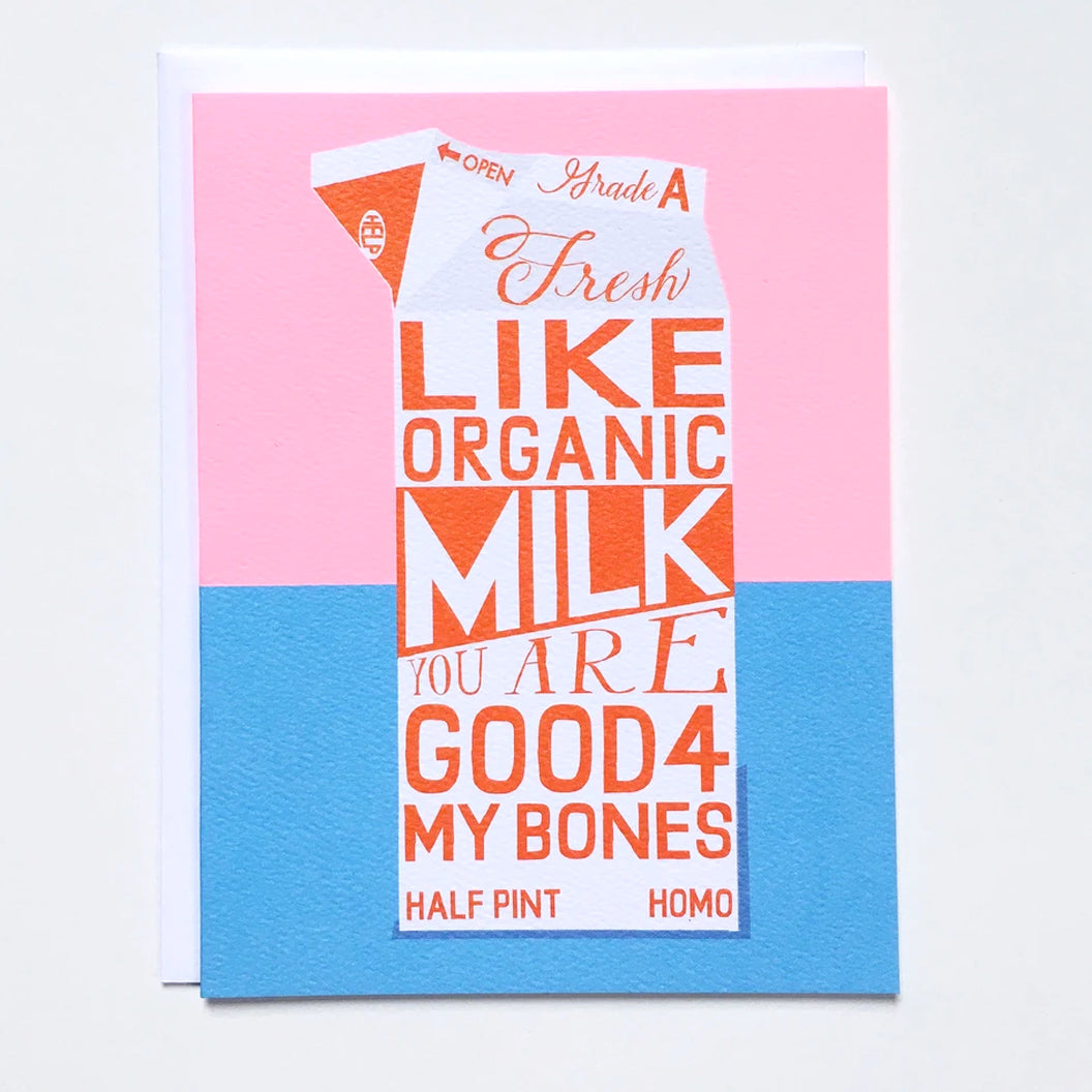 "Greeting card with the image of a milk carton and text that reads ""You are Good for my Bones"" by Banquet Workshop"
