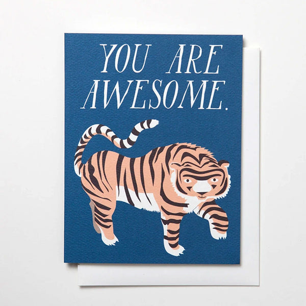 "Greeting card with an image of a tiger and the text ""You are Awesome"" by Banquet Workshop"