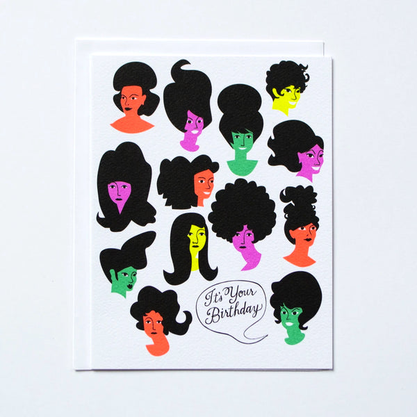 Birthday Girls with Big Hair Greeting Card by Banquet Workshop