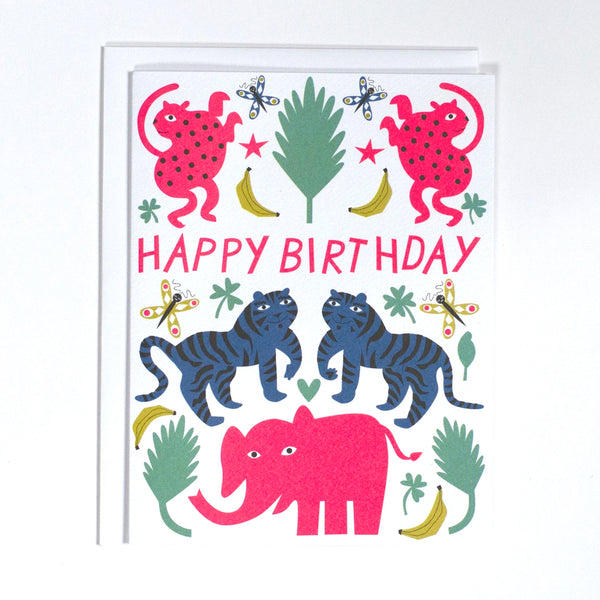 Pink Elephant Happy Birthday Greeting Card
