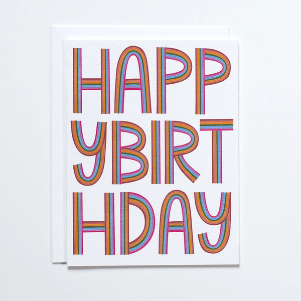 Happy Birthday Greeting Card with Rainbow Letters made by Banquet Workshop