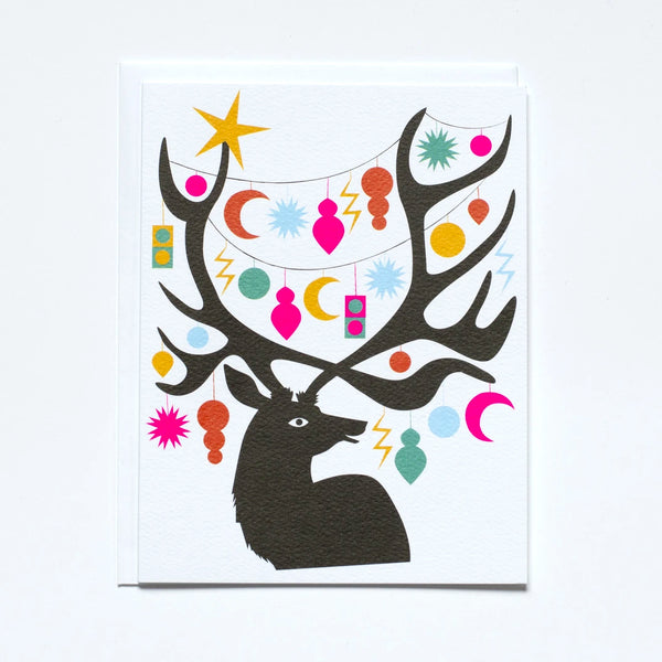 Deer with Antlers and Ornaments Greeting Card