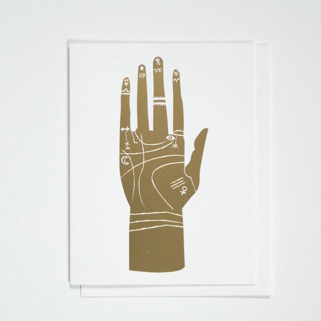 Gold Foil Palmistry Hand Greeting Card