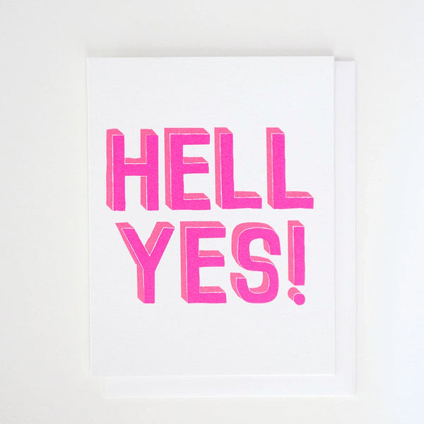 Hell Yes! Double Neon Greeting Card by Banquet Workshop