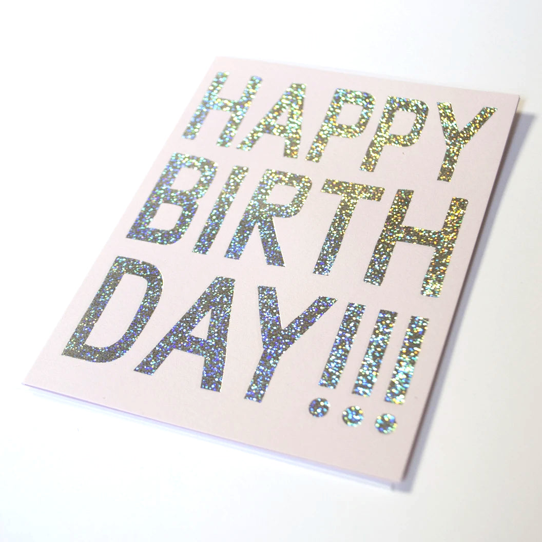 Happy Birthday Glitter Foil Greeting Card by Banquet Workshop