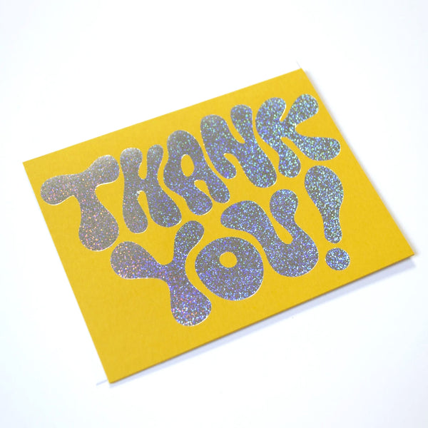 Glitter Hologram Thank You Greeting Card on mustard Paper by Banquet Workshop