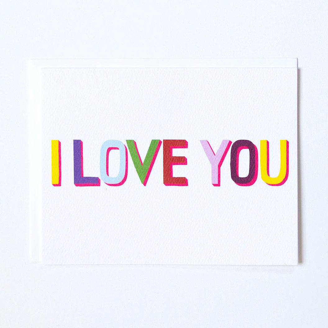 "Greeting Card in Multi-coloured letters that say ""I love you"" by Banquet Workshop"