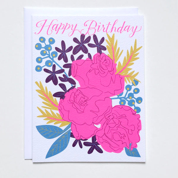 "Greeting card with an illustration of a bouquet of pink roses and script text that says ""Happy Birthday"" by Banquet Workshop."
