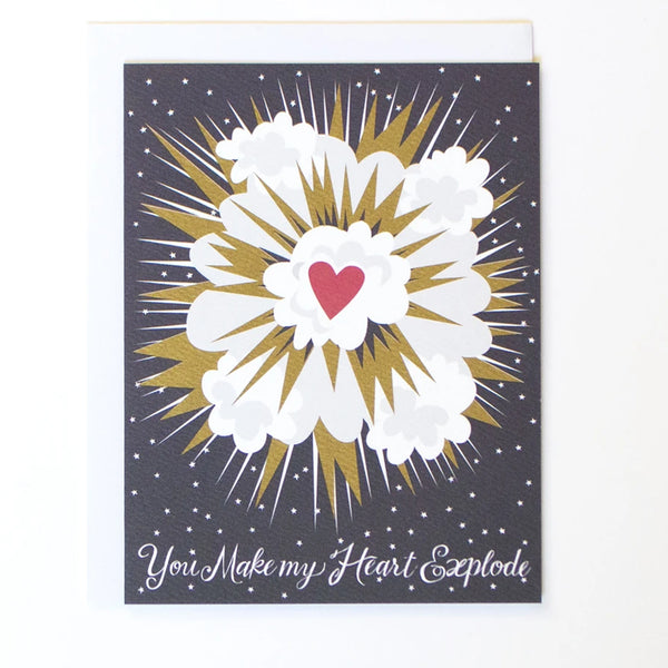 "Greeting card in blue and gold with the words ""You Make my Heart Explode"" by Banquet Workshop"