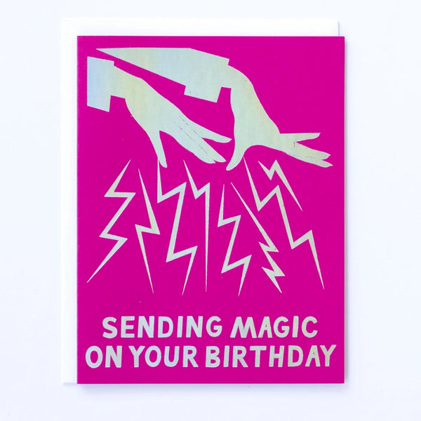 "Greeting card printed in Hologram Foil with Magic Hands that say ""Sending Magic on Your Birthday"" by Banquet Workshop"
