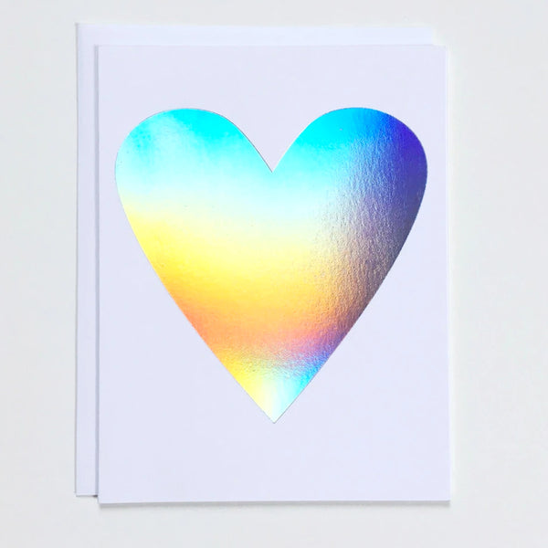 Greeting card with a large Hologram Foil heart on white paper by Banquet Workshop