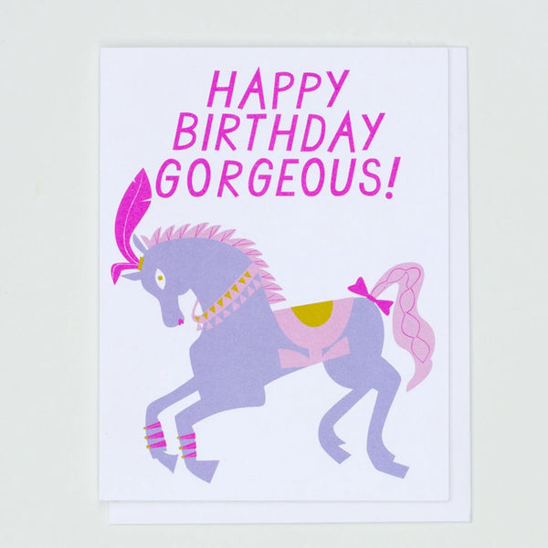 "Pretty Pony Birthday Greeting Card that says ""Happy Birthday Goregous"" in Pink Letters with a purple and pink pony by Banquet Workshop"