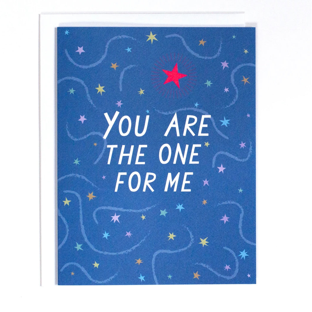 "Greeting Card in blue with stars and the text ""You are the One For Me"" by Banquet Workshop"
