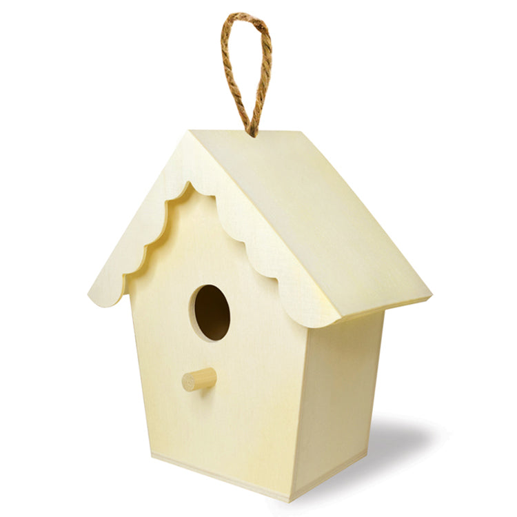 Wooden Paintable Birdhouse with a scallop roof for kids wood crafts