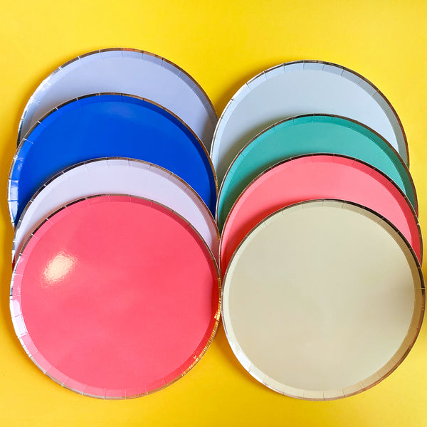 Set of 8 Colourful Paper plates with Gold Edges