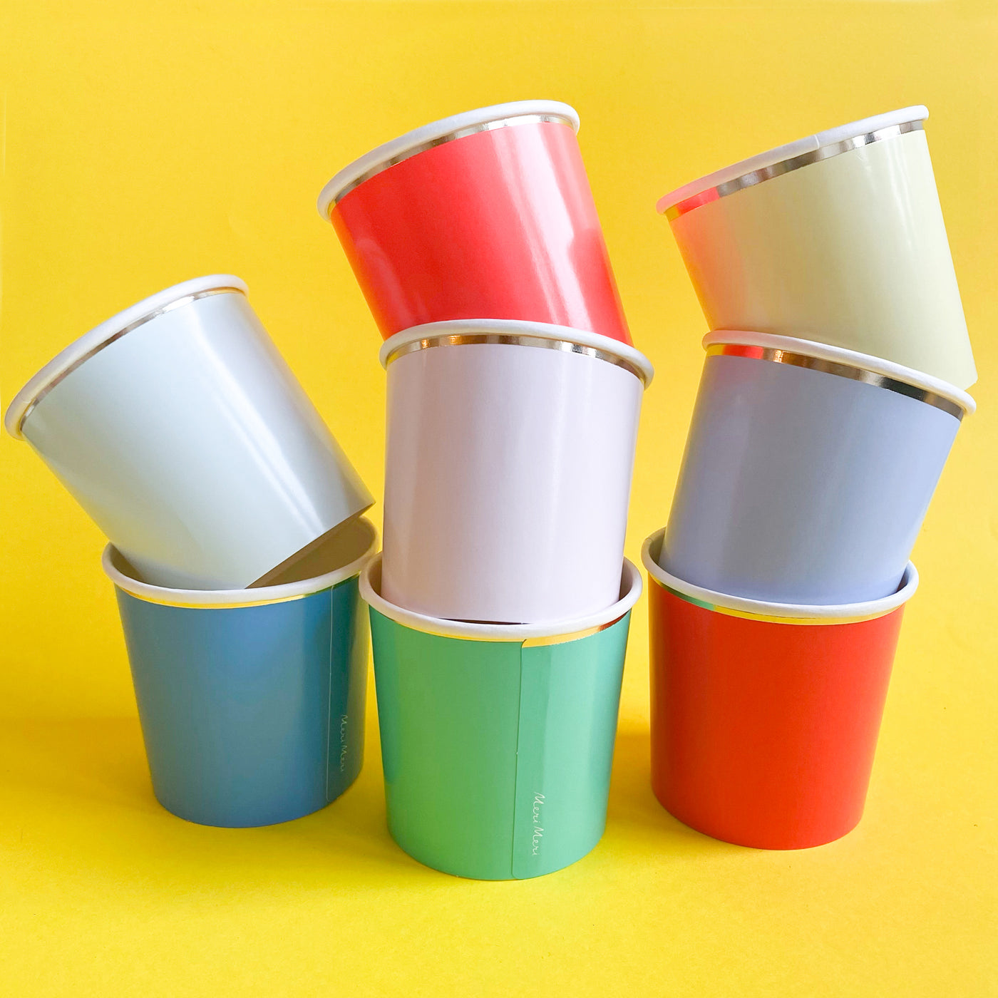 Set of 8 Colourful Paper Cups with Gold Edges
