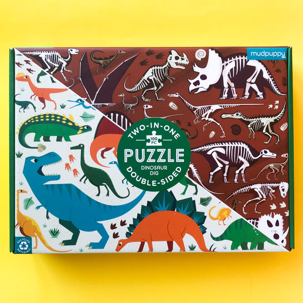 Dinosaur Dig Double Sided 100 piece puzzle by Mudpuppy