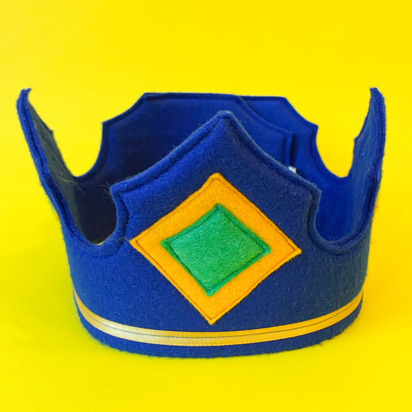 Felt Knight Crown in Dark Blue with Yellow and Green Diamonds