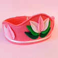Felt Lotus Crown in dark pink with light pink lotus