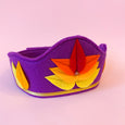 Felt Lotus Crown in dark purple with red, orange, and yellow lotus
