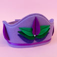 Felt Lotus Crown in lavender with bright purple lotus
