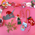 Holiday Handmade Ornament Kit with materials and instructions to make: Mittens, festive elves, chain garland, candy canes, snowflakes and a narwhal