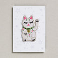 Lucky Cat in white and pink iron on patch