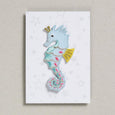 Seahorse in baby blue iron on patch