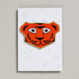 Orange Tiger with gold outline iron on patch