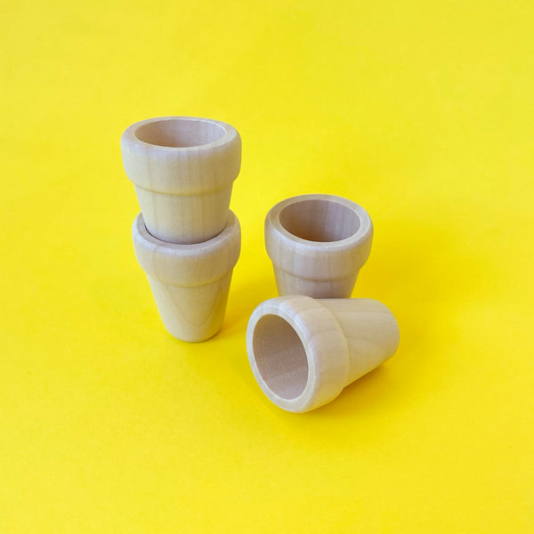 Miniature Wood Flower Pots