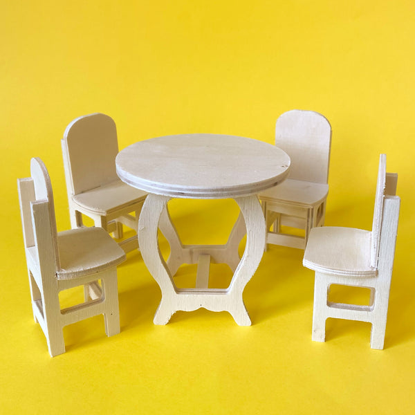 Miniature Paintable Wood Dining Set Table and Chairs