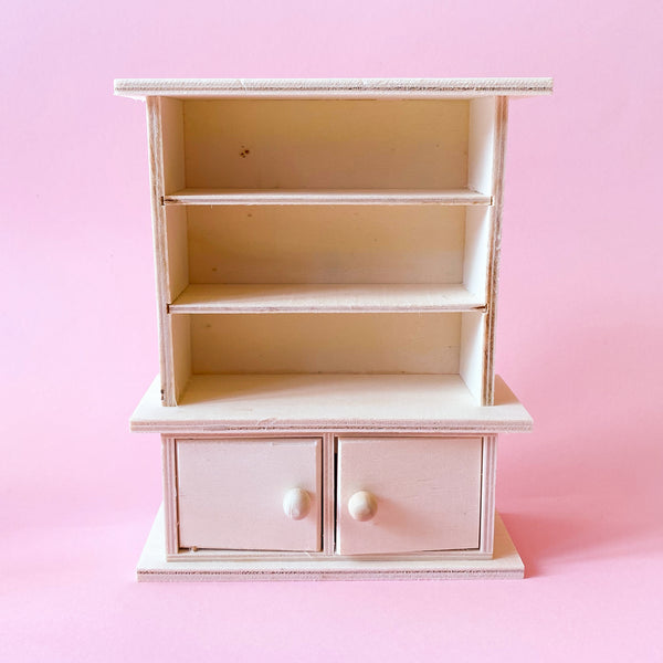 Miniature Wooden Buffet Hutch in unfinished paintable wood