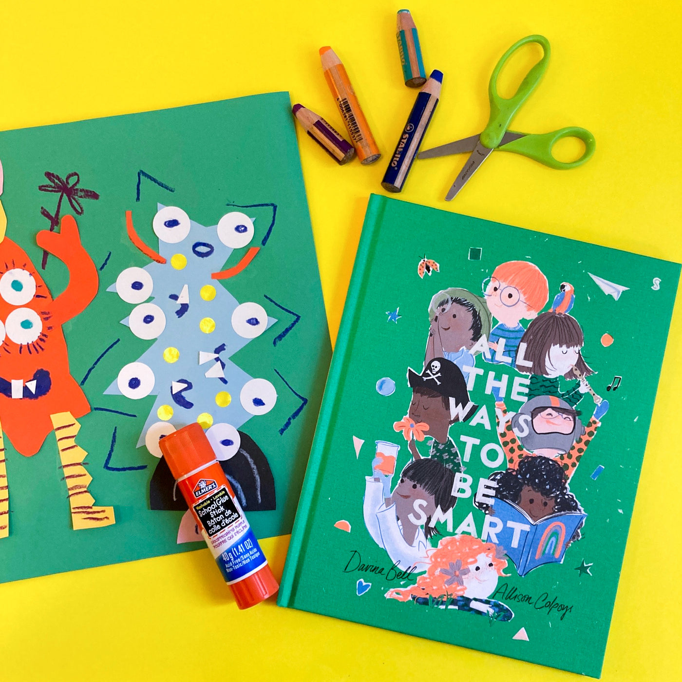 Online Mixed Media Art Class for Kids aged 3 to 8 years inspired by the book All the Ways to be Smart
