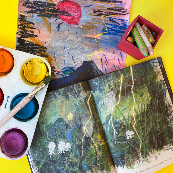 Online Mixed Media Art Class for Kids aged 3 to 8 years inspired by the book Every Color of Light