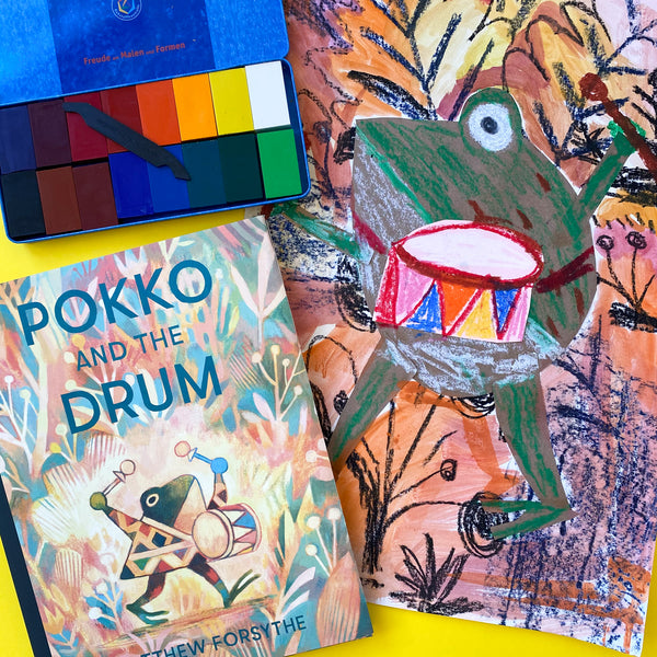 Online Mixed Media Art Class for Kids aged 3 to 8 years inspired by the book Pokko and the Drum
