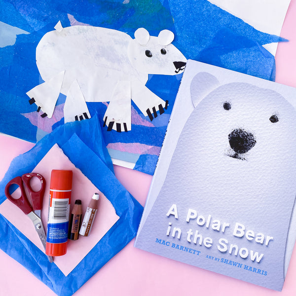 Online Mixed Media Art Class for Kids aged 3 to 8 years inspired by the book a Polar Bear in the Snow