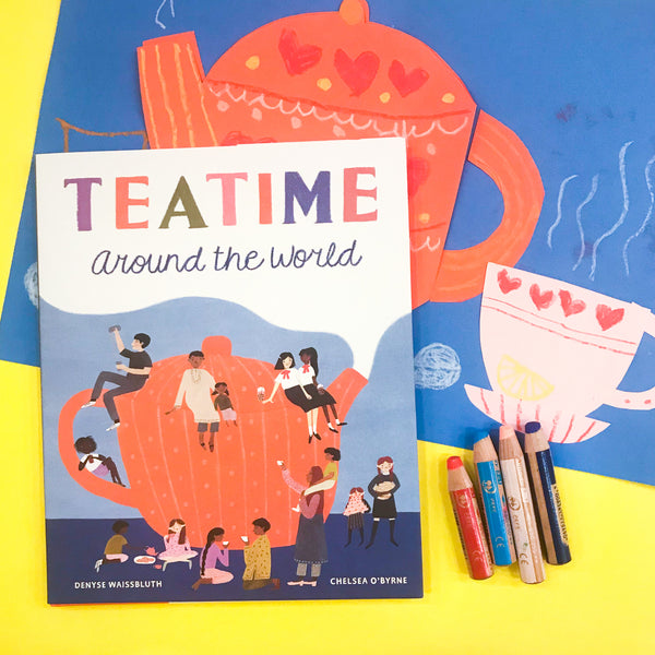 Online Mixed Media Art Class for Kids aged 3 to 8 years inspired by the book Teatime Around The World