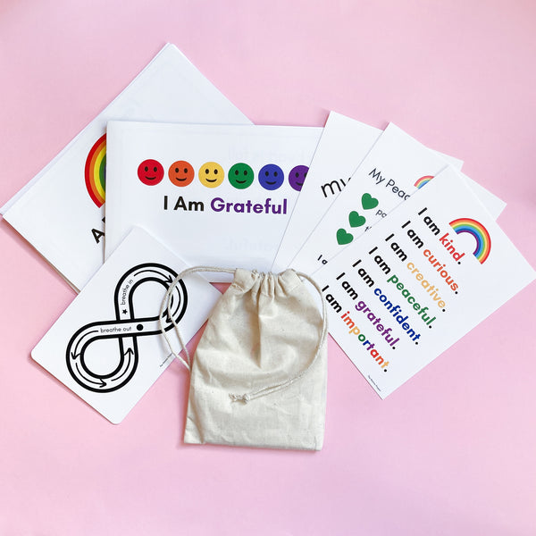 Montessori Peaceful Routine Kit and Affirmation Cards are a simple way to help your child practice mindfulness, gratitude and build positive self-esteem.